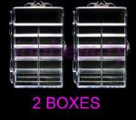 2 x Empty Nail Tip Display Storage Box For 100 Tips Art 11 Compartments 20044A